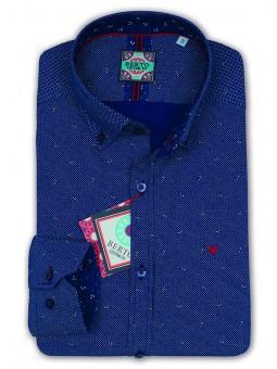 Camisa estampada, cuello con botón