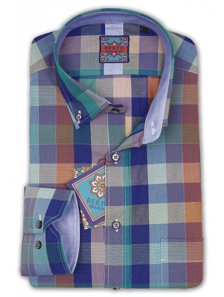 Camisa cuadros, con botón cuello