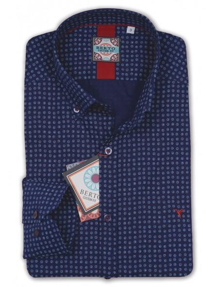 Camisa estampada, semientallada, botón cuello