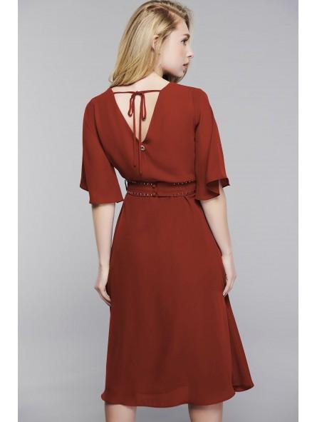 Vestido cobre con cinturón de tachuelas, LA MUSA WOMAN