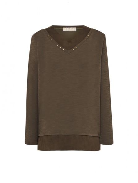 Camiseta lisa c/pico, M/L
