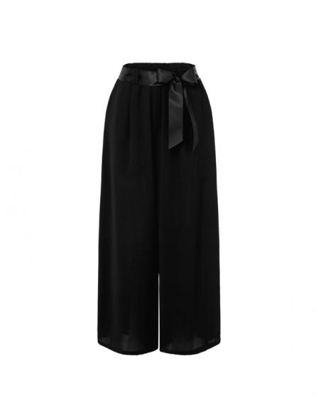 Pantalón ancho con lazo en cintura