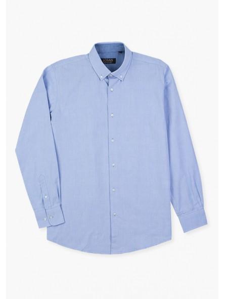 Camisa lisa botón cuello, losan