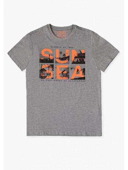 Camiseta con texto estampado de olas, losan