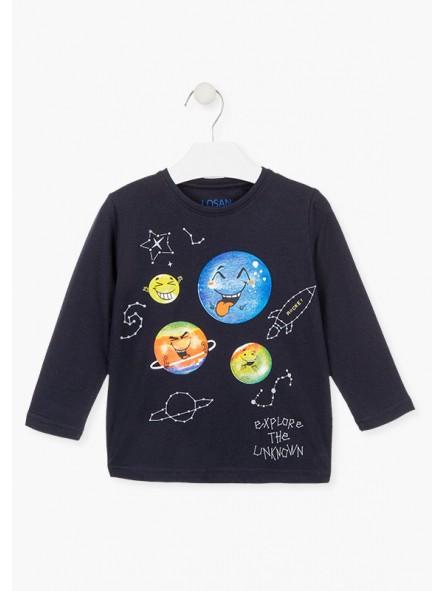 Camiseta estampado del espacio, LOSAN