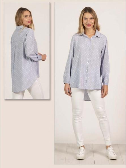 Camisa lunares manga larga
