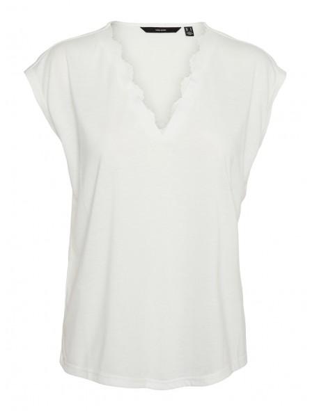 Camiseta puntilla, cuello pico
