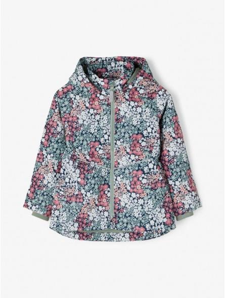 Chaqueta de flores con capucha extraíble, Name It
