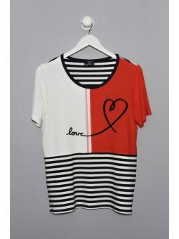 Camiseta combinada corazón