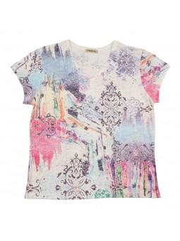 Camiseta estampada escote pico