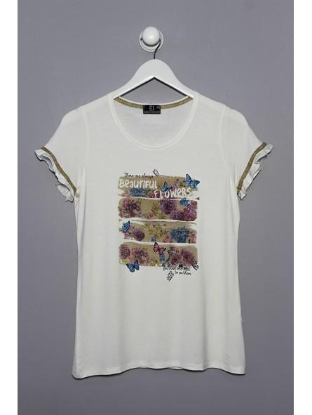 Camiseta estampado lurex manga corta