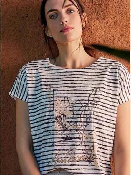Camiseta rayas con gráfico