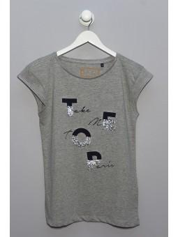 Camiseta letras con lentejuelas