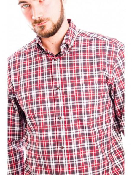 Camisa cuadros algodón con bolsillo