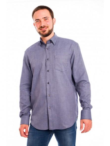 Camisa caballero con bolsillo, botón oculto cuello